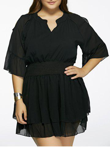 Discount Plus Size Cold Shoulder Layered Dress