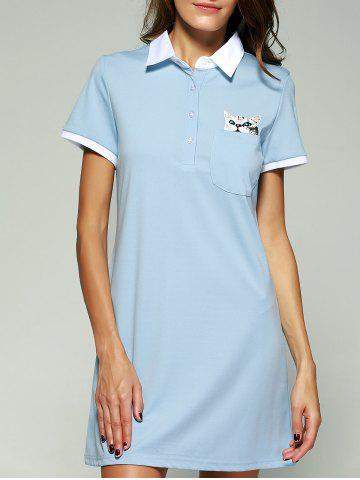 Cheap Kitten Pattern Mini Polo Shirt Dress