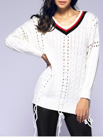 Outfits Stripe Lace-Up Crochet Sweater