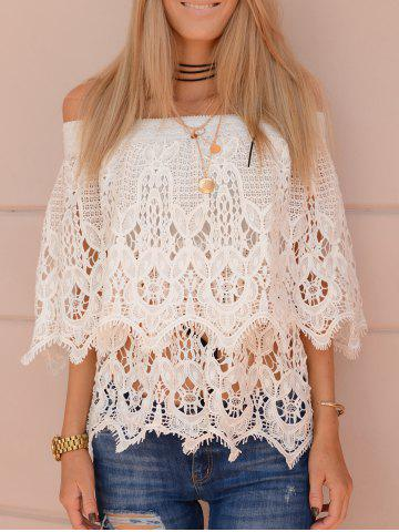 Store Stylish White Off-The-Shoulder Cut Out Lace Blouse