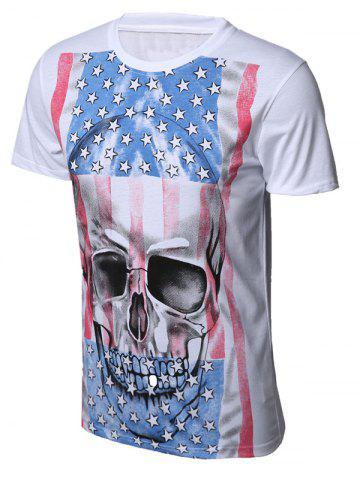 Latest Skull Distressed American Flag Print T-Shirt WHITE 2XL