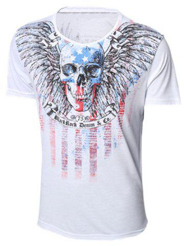 Unique Round Neck Skull and Feather Print Short Sleeve T-Shirt For Men WHITE XL