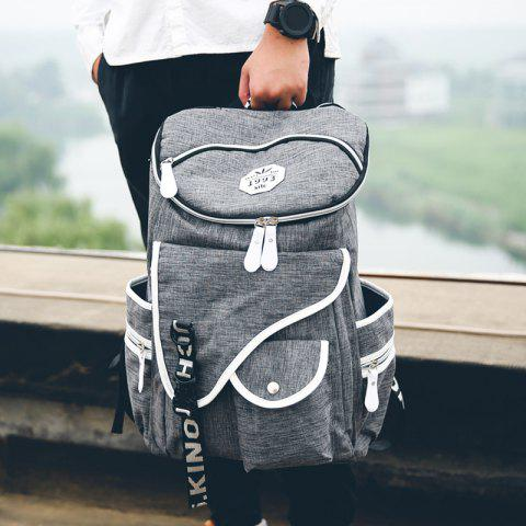 Trendy Casual Zippers and Pockets Design Backpack For Men GRAY