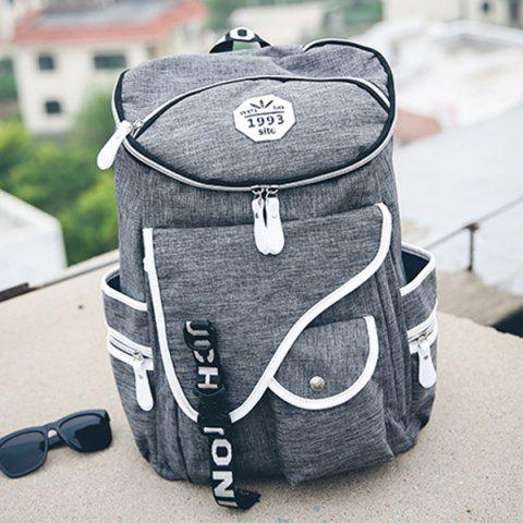 Chic Casual Zippers and Pockets Design Backpack For Men - GRAY  Mobile