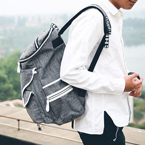 Outfit Casual Zippers and Pockets Design Backpack For Men - GRAY  Mobile