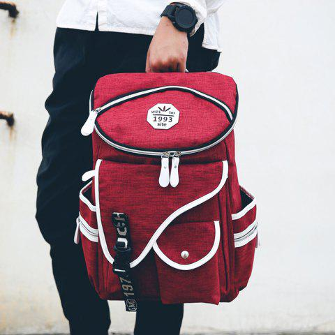 Cheap Casual Zippers and Pockets Design Backpack For Men - DEEP RED  Mobile