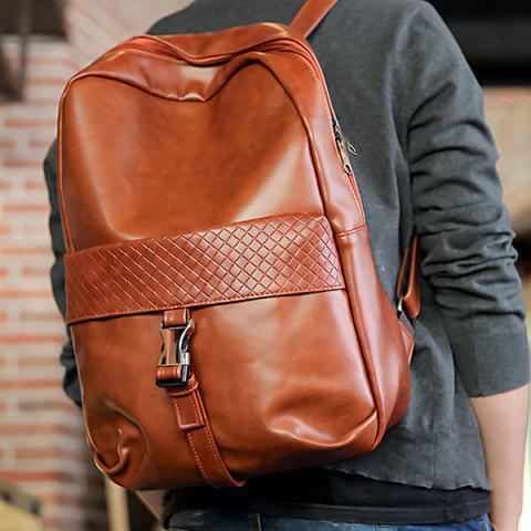 Affordable Trendy Solid Colour and Plaid Pattern Design Backpack For Men