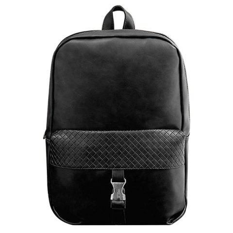 Outfit Trendy Solid Colour and Plaid Pattern Design Backpack For Men - BLACK  Mobile