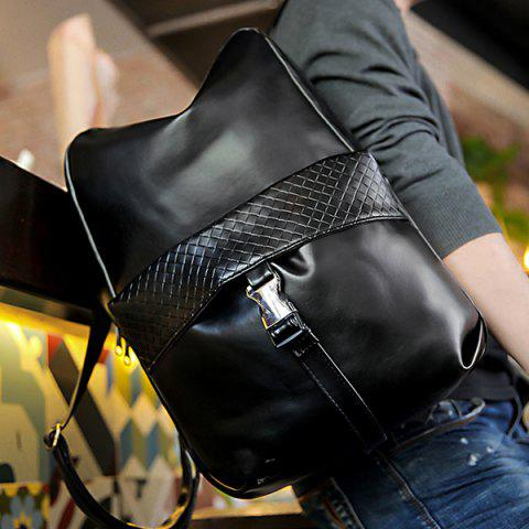 Fancy Trendy Solid Colour and Plaid Pattern Design Backpack For Men - BLACK  Mobile