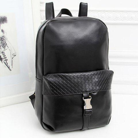 Cheap Trendy Solid Colour and Plaid Pattern Design Backpack For Men - BLACK  Mobile