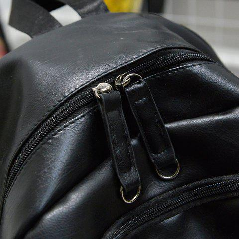 Unique Stylish Solid Colour and Zippers Design Backpack For Men - BLACK  Mobile
