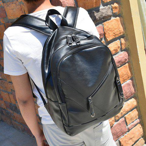 Outfit Stylish Solid Colour and Zippers Design Backpack For Men - BLACK  Mobile