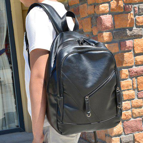 Chic Stylish Solid Colour and Zippers Design Backpack For Men - BLACK  Mobile