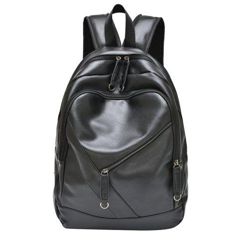 Discount Stylish Solid Colour and Zippers Design Backpack For Men - BLACK  Mobile