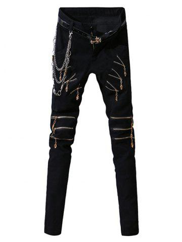 Zip-Up Embellished Design Zipper Fly Narrow Feet Pants For Men - Black - 30
