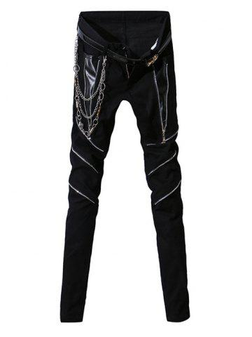 Unique PU-Leather Splicing Design Zipper Fly Narrow Feet Pants For Men