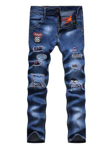 Trendy Appliques Patch and Holes Design Zipper Fly Narrow Feet Jeans For Men