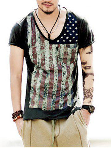 Cheap Round Neck Vintage Star and Stripe Print Short Sleeve T-Shirt For Men DEEP GRAY 2XL