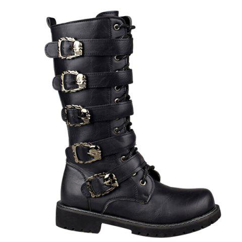 Discount Trendy Black and Buckles Design Boots For Men BLACK 43