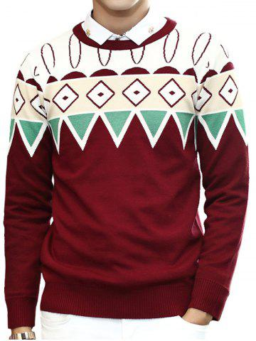 Zigzag Geometric Pattern Round Neck Long Sleeve Sweater