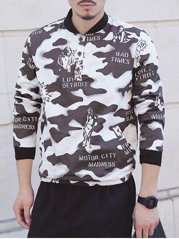 Stand Collar Camouflage Cartoon Print Long Sleeve Sweatshirt For Men