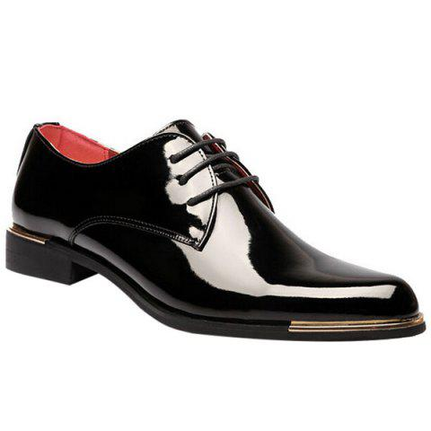 New Fashion Patent Leather and Tie Up Design Formal Shoes For Men BLACK 44