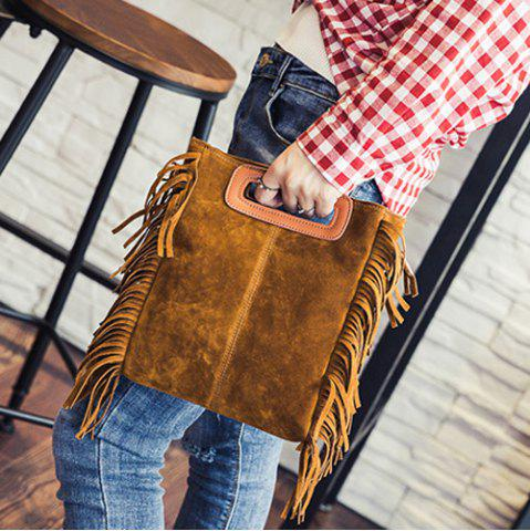 Sale Stylish Faux Suede and Fringe Design Crossbody Bag For Women