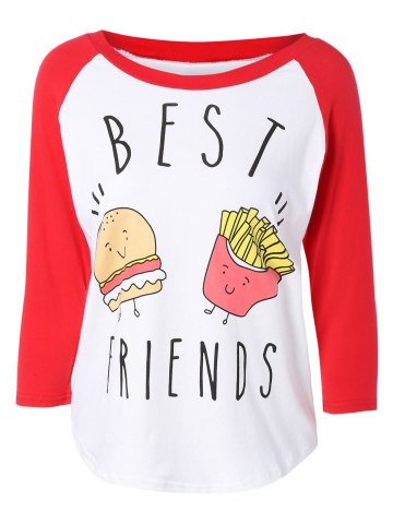 Outfits Stylish Scoop Neck Raglan Sleeve Hamburger Print Women's T-Shirt