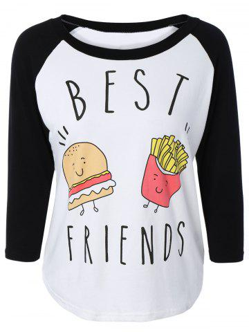 Fancy Stylish Scoop Neck Raglan Sleeve Hamburger Print Women's T-Shirt - 2XL BLACK Mobile