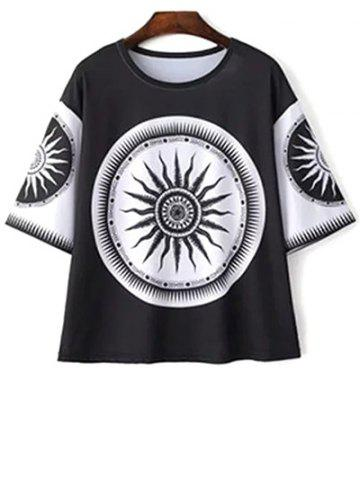 Best Casual Round Neck Tribe Totem Print T-Shirt For Women
