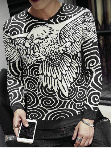 Discount Eagle Swirl Pattern V-Neck Long Sleeve Sweater For Men BLACK 2XL