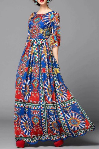 Latest Colorful Geometric Evening Dress