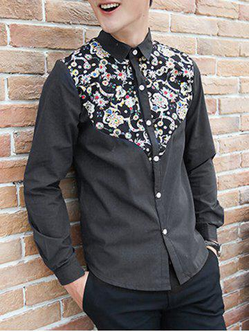 New Jewel Printed Splicing Design Turn-Down Collar Long Sleeve Shirt For Men