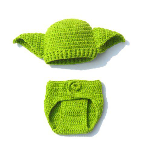Outfit Handwork Crochet Photography Clothes Set For Baby GREEN