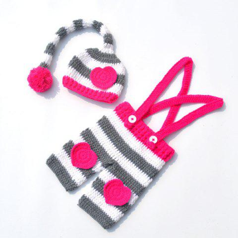 New Long Tail Hat Overalls Crochet Clothes Set For Baby ROSE RED