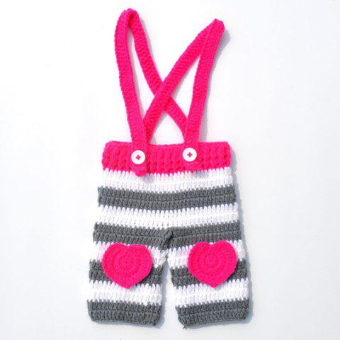 Buy Long Tail Hat Overalls Crochet Clothes Set For Baby - ROSE RED  Mobile