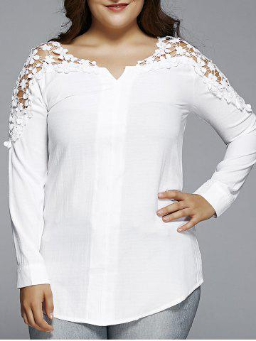 Hot Plus Size Lace Hollow Out  Blouse - 2XL WHITE Mobile