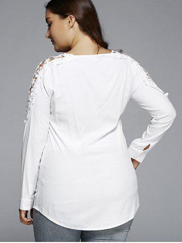 New Plus Size Lace Hollow Out  Blouse - L WHITE Mobile