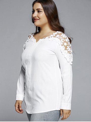Outfit Plus Size Lace Hollow Out  Blouse - L WHITE Mobile