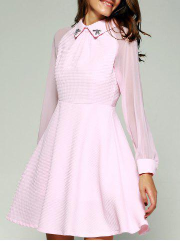 Affordable See-Through Beading Full Sleeve Skater Short Dress with Sleeves PINK S