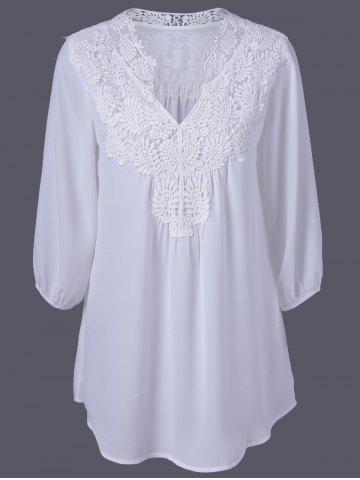 Fancy Plus Size Sweet Crochet Spliced Tunic Blouse WHITE XL