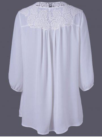 Outfit Plus Size Sweet Crochet Spliced Tunic Blouse - WHITE 2XL Mobile