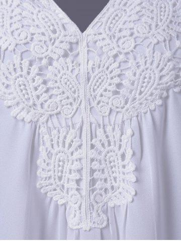 Affordable Plus Size Sweet Crochet Spliced Tunic Blouse - WHITE 4XL Mobile