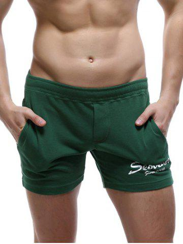 Latest Casual Style Pockets Design Letter Print Lounge Shorts For Men BLACKISH GREEN XL