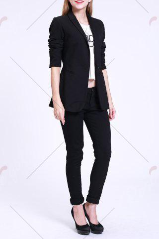 Unique Fitted Blazer with Pockets - S BLACK Mobile