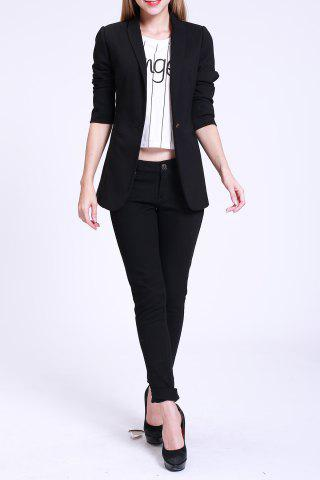 Discount Fitted Blazer with Pockets BLACK S