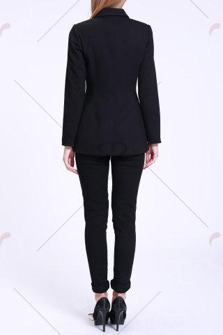Shop Fitted Blazer with Pockets - S BLACK Mobile