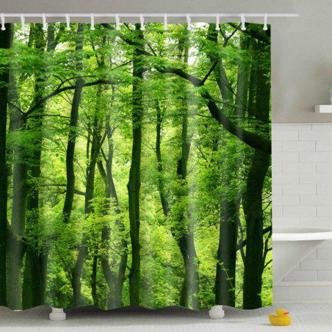 Eyeful Eco-Friendly Green Woods Printing Shower Curtain For Bathroom - Colormix - W71 Inch * L71 Inch