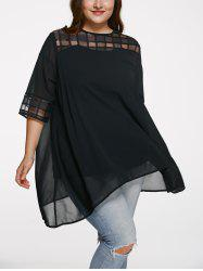 Chic 3/4 Sleeve See-Through Plus Size Blouse - BLACK