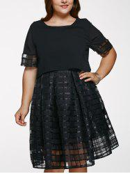 Scoop Neck Plus Size Ball Gown See-Through Dress - BLACK 5XL